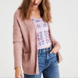 American Eagle Mauve Pink Lace Up Back Cardigan